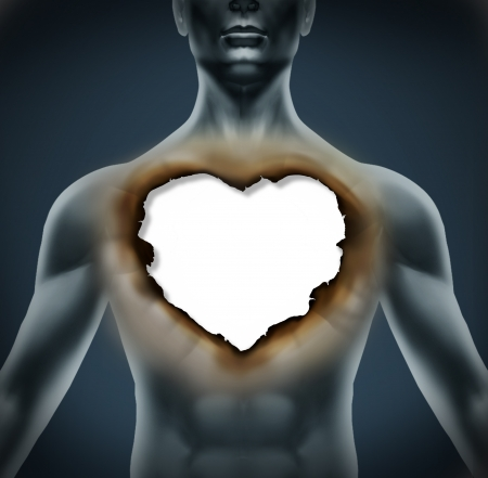 Emotional Grief and depression as a result of a broken romantic relationship as a human body with a burnt paper in the shape of a love heart symbol representing stress and despair  Stock Photo - 17229319