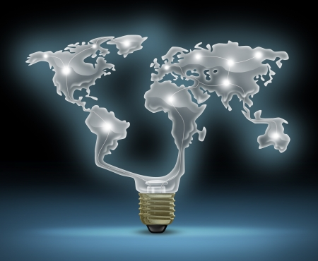 energy saving: Global innovation symbol with a glowing glass light bulb shaped as the world map representing the business concept of new and future inventions in international technology and design creativity  Stock Photo