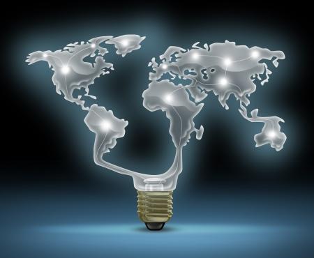 ahorro energia: Símbolo mundial de la innovación con una ampolla de vidrio en forma de luz brillante como el mapa del mundo que representa el concepto de negocio de las invenciones nuevas y futuras en tecnología internacional y creatividad en el diseño