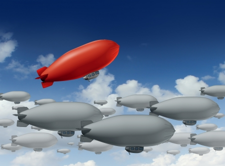 way out: Standing out from the crowd with a group of grey blimps going in a straight direction and a leading red blimp going up as a special visionary individual with a success strategy on a sky  Stock Photo