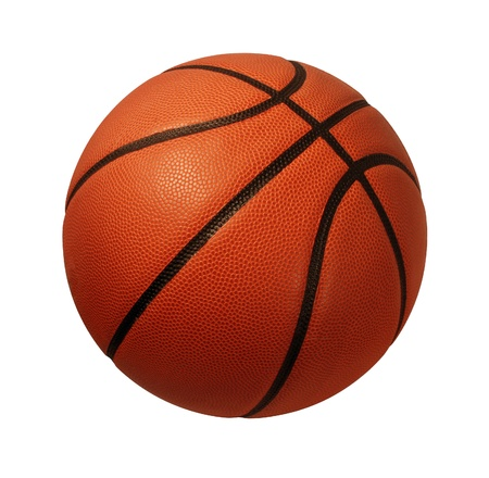 leather ball: Baskeball aislado en un fondo blanco como s�mbolo deportes y aptitud de una actividad liesure equipo que juega con una pelota de cuero regate y pase en los torneos de la competencia