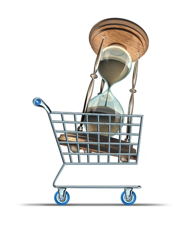 postpone: Buying time and purchasing medication to increase lifespan and longevity drugs for human body health endurance with a shopping cart transporting an hourglass on a white background