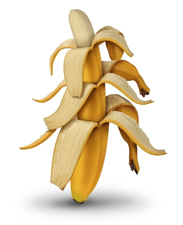 deflation: Diminishing returns and lower investment value by the decreasing in size of banana fruit with open peel as a business concept of financial lower profits on a white background