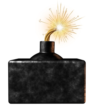 ignited: Explosive blank bomb sign with an ignited burning dangerous weapon device on the verge of exploding as an urgent limited time announcement advertisement for important time sensitive message on a white background