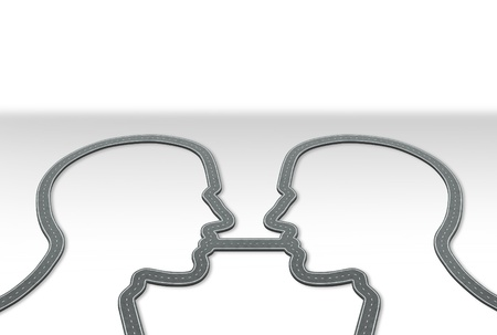Group communication and information highway business concept with roads and streets in the shape of two paths as a human head connected together by one common road as an icon of relationship strategy Stock Photo - 17335521