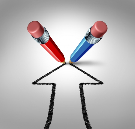 グループの目標と赤と青鉛筆成長と富のための強固な関係の金融シンボルとして上がって矢印としてビジネス成功のためのチームのパートナーシッ