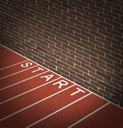 closed society: New business problems as unaccessible closed opportunities and no access to financial oppotunities as a track and field race track start position with a brick wall blocking the way forward