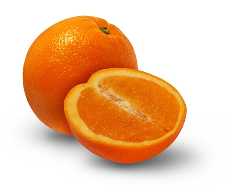 valencia orange: Orange fruit with a cross section of the delicious juicy citrus food as a healthy eating symbol on a white background