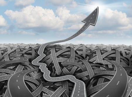 Planificación y estrategia de éxito como enredado confundido tres grupos dimensional de caminos y carreteras y un camino claro en la forma de una cabeza humana como un desvío más allá de la confusión de subir en una flecha apuntando al cielo