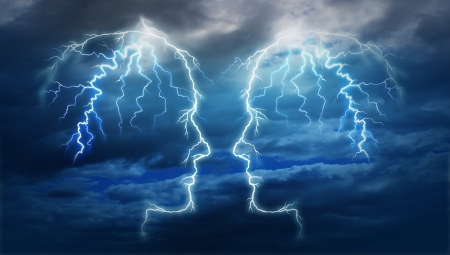 creative strength: Power meeting and team ideas as a group of two electric lightning bolt strikes in the shape of a human head illuminated on a storm cloud night sky as an intelligent partnership