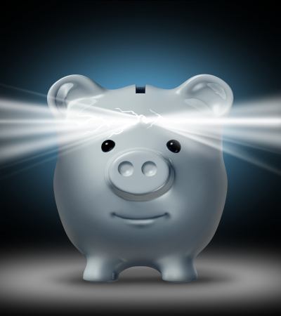Investment vision and the power of Savings with a cracked open white piggy bank shinning a bright light as a financial symbol of wisdom in managing money saved  Stock Photo - 17335523