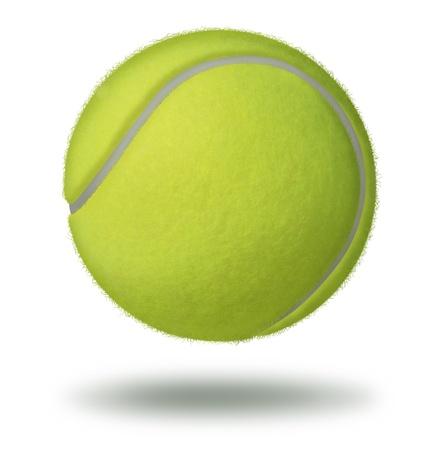 racket sport: Pelota de tenis que flota sobre un fondo blanco como un deporte de ocio raqueta individuo juega en una cancha como una esfera hueca de goma con una textura verde de fieltro amarillo