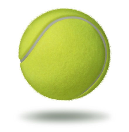 tennis ball: Tennis ball floating on a white background as a leisure individual racket sport played on a court as a rubber hollow sphere with a yellow green felt texture