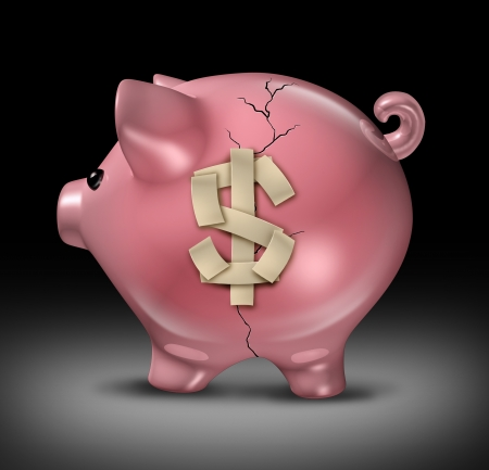 a broken cracked pink piggy bank with repair tape in the shape of a dollar sign Stock Photo - 17472601