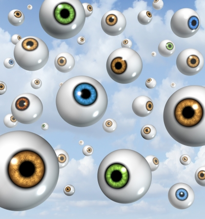 crystalline lens: eyes floating in the sky Stock Photo