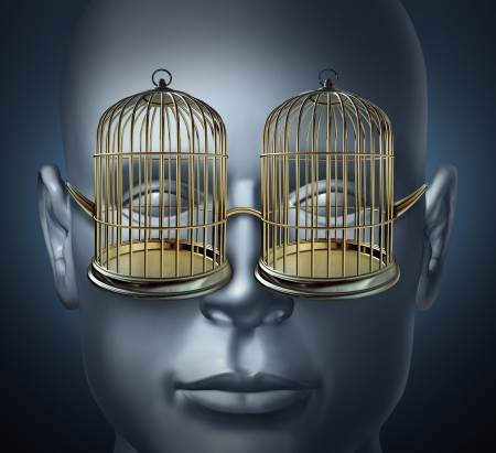 free your mind: bird cage prison shaped eye glasses as symbols of being imprisoned and trapped  Stock Photo