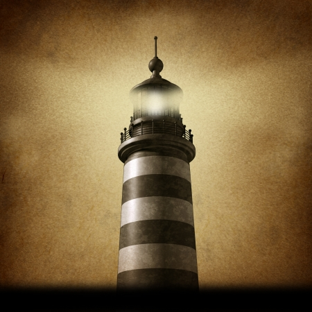 business metaphore: Lighthouse on an old grunge parchment texture clearing the path as a strategic guidance symbol with a beaming directional light as a business concept for the way forward with a high tower for a financial venture  Stock Photo