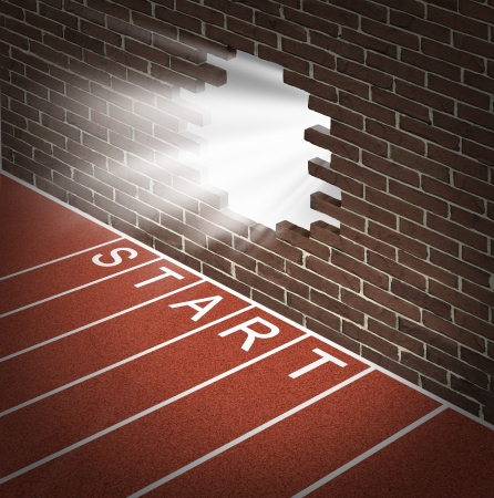 break: New opportunities and promising business openings at the start of a journey with track and field racing lines Stock Photo