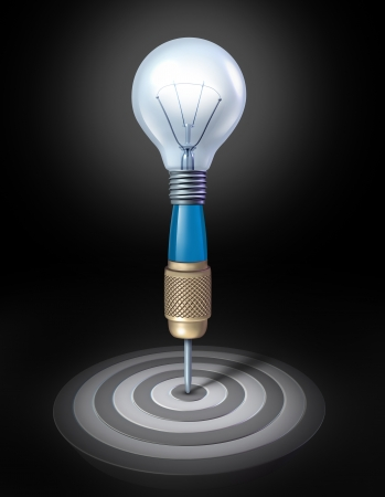 expertise concept: a dart shaped as a light bulb aimed on a perfect bulls eye