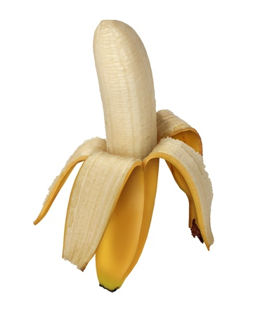 Banana peeled open as a fruits and vegetables symbol of healthy eating and organic cultivation as a ripe sweet nutritious health food from a tropical climate Stock Photo - 17688062