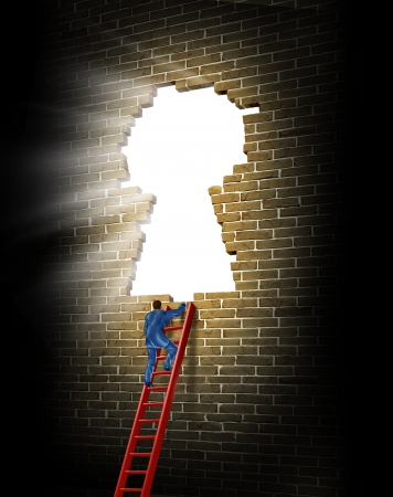 Breaking in to opportunity as a business man climbing a broken brick wall in the shape of a glowing light keyhole with a red ladder as a concept of success and winning