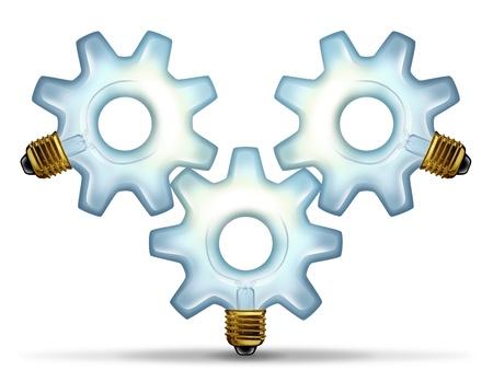 제휴 팀은 흰색 배경에 혁신적인 창조적 인 성공을위한 작업으로 함께 연결된 기어 또는 톱니 모양의 세 가지 조명 유리 전구와 비즈니스 그룹의 아이디어 스톡 콘텐츠 - 17688055