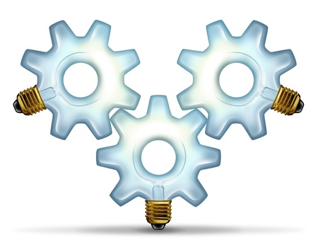 Business group ideas with three illuminated glass lightbulbs in the shape of a gear or cog connected together as a partnership team working for innovative creative success on a white background