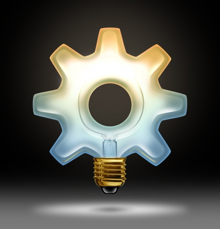 Business innovation and creativity as a lightbulb illuminated glass in the shape of a gear or cog as a concept of creative success in innovative ideas for industry and bright thinking on a black background Stock Photo - 17688032