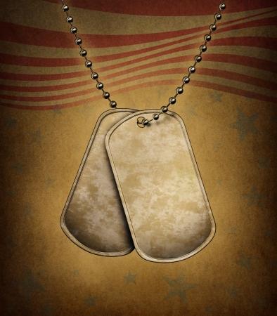 id: Dog Tags sur une texture grunge avec le th�me de drapeau am�ricain en m�tal blanc avec collier de perles comme un symbole de l'identit� militaire des soldats de l'attention m�dicale d'urgence pour les h�ros bless�s et tomb�s