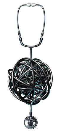 problem: Health care management medical symbol with a doctor stethoscope tangled in a ball of confusion as a concept of medical problems and failure as it pertains to a diagnosis and dealing with human illness  Stock Photo