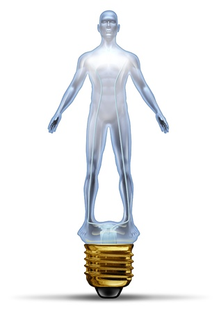aging brain: Human creative power and potential as a glass lightbulb in the shape of a body as concept of intelligence and ideas as health solutions in research for disease and illness in the medical field and business  Stock Photo