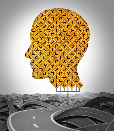 free your mind: Human Direction with a huge sign made with a group of traffic signage shaped as a human head with a winding road surrounded by tangled confused highways as a symbol of choice and searching for the path to success
