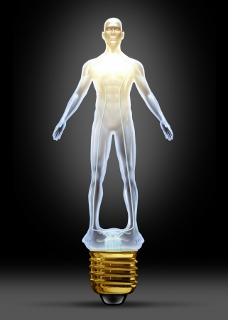 brain aging: Health ideas and human creative power as a glass lightbulb in the shape of a body as concept of intelligence and creative health solutions in research for disease and illness in the medical field  Stock Photo