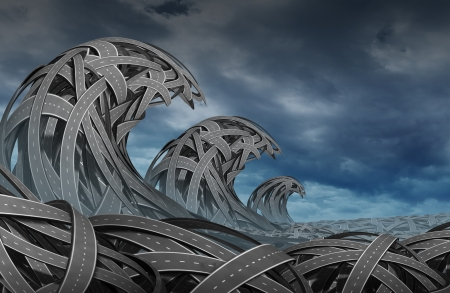 Confusion storm with a group of three diimensional roads and highways twisted together in the shape of ocean waves as a business concept of risk and  finding direction in turbulent times  Stock Photo - 17811639