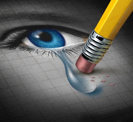 lacrime: Depressione Soccorso e conquistare avversità mentale con una gomma da matita rimuovendo una lacrima da un primo piano di un volto umano e gli occhi come un concetto di sostegno e di terapia emozionale
