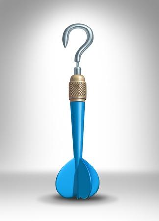 pensamiento estrategico: Objetivos de la pregunta como un dardo azul con la aguja de metal en forma de un signo de interrogaci�n como un concepto de negocio de obtener respuestas sobre un plan estrat�gico para el futuro y las opciones de carrera