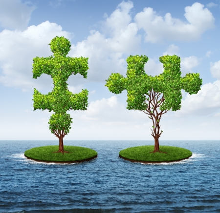 partnership power: Growth connection with two trees in the shape of jigsaw puzzle pieces floating on an ocean moving together to merge into one strong partnership as a business concept of teamwork  Stock Photo