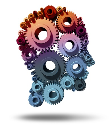 Brain function as gears and cogs in the shape of a human head as a medical symbol of mental health care and neurological functioning on a white background  photo