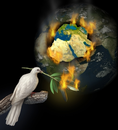 against the war: Middle East conflict as a burning map of Egypt Syria Iran Israel Saudi Arabia Libya Yemen Iraq with a white dove holding a burning olive branch for the tragedy of war and political problems