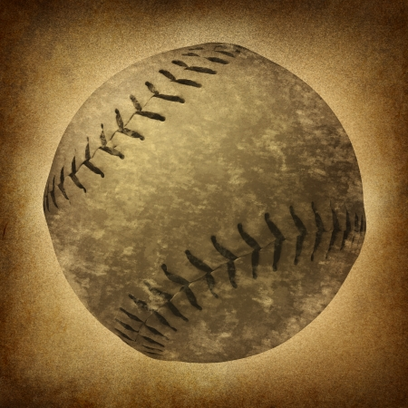 Old grunge baseball or softball as a vintage sports symbol on a dirty parchment background as an American cultural and traditional national pastime sport with a sphere made of leather and stitching Stock Photo - 17811645