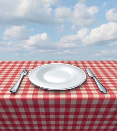 プレート: ピクニック食事フード サービスと古典的なレストランのシンボルとして夏の青空に市松模様の赤と白のテーブル クロス上のフォークのナイフと白の空にプレートの場所の設定