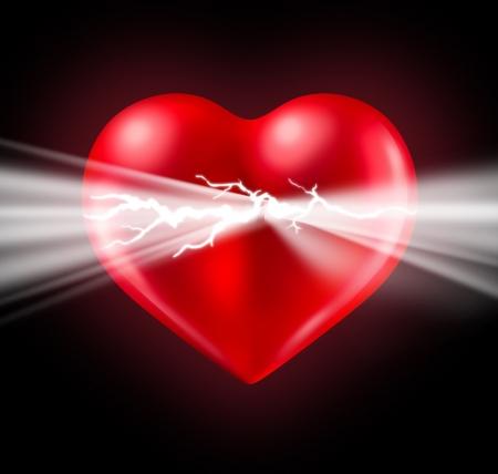 激しい感情と新興国と黒の背景で光る赤いハート形バレンタイン シンボルから破裂のロマンチックな感情のエネルギーと人間愛と幸福の力