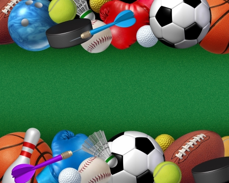 Sports and activities border with equipment from basketball boxing golf bowling tennis badminton football soccer darts ice hockey and baseball as a fitness and health design element on a green textured background  photo