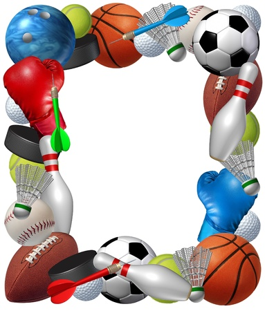 equipment: Sports frame with sport equipment from baketball boxing golf bowling tennis badminton football soccer darts ice hockey and baseball as a fitness and health border isolated on a white background