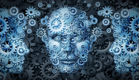 Business education group with a network of connected gears and cogs in the shape of people exchanging knowledge and expertise as a symbol of training and career growth for financial success  Stock Photo - 17811901