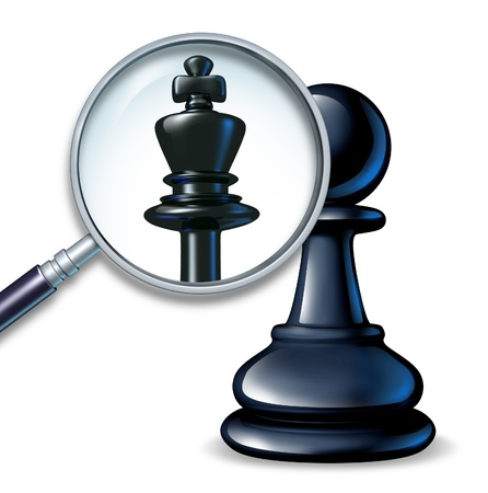 greatness: Future leader business concept with a chess game pawn and a magnifying glass showing a change to a king figure as a symbol of a rise to success and career promotion for greatness  Stock Photo
