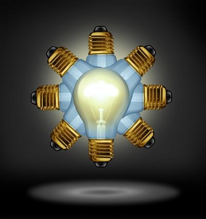 pensamiento estrategico: Las ideas del grupo y concepto creatividad asociación con brillantes bombillas organizadas en un patrón radial como un símbolo del poder de trabajar juntos para el éxito la innovación sobre un fondo negro