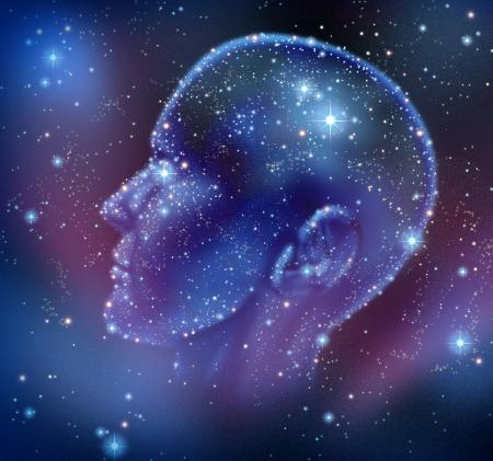 인간의 영감과 뇌 기능의 신경과 건강의 상징으로 밤 하늘에 조명 인간의 머리 모양의 공간에 밝은 별의 별자리와 창조적 인 정보 스톡 콘텐츠