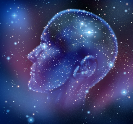free your mind: Human inspiration and creative intelligence with a constellation of bright stars in space in the shape of a human head illuminated on a night sky as a brain function neurology health care symbol  Stock Photo