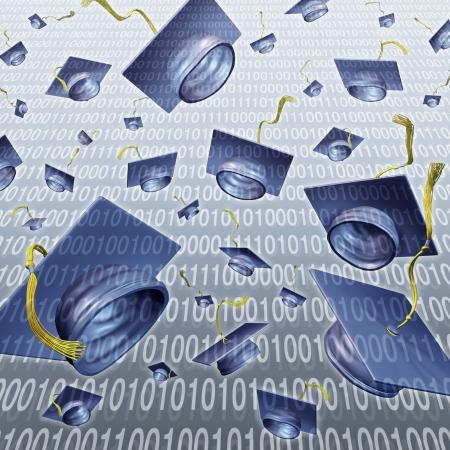 werk: Internet onderwijs en online leren met afstuderen caps gegooid in de lucht op een digitale binaire code technologie achtergrond als een moderne business training concept voor de virtuele school en in de klas, Stockfoto
